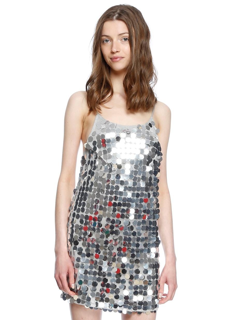05a60a4b41461 Motel Rocks Gümüş Askılı Mini Abiye Elbise   ElbiseBul